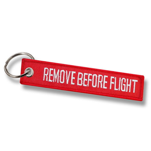 LLAVERO BORDADO REMOVE BEFORE FLIGHT.
